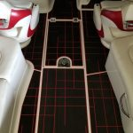 red and black boat deck