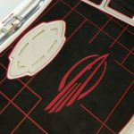red and black boat floor