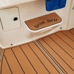 brown and black boat decking