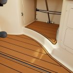 white boat with teak