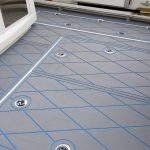 gray and blue boat decking